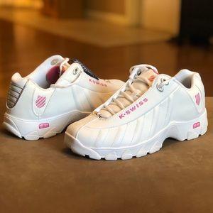 K-Swiss Women's ST329 CMF White Sneakers Pink Trim